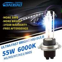 2pcs Top Quality Fast Bright BAOBAO 55W 4300k 6000K 5200LM HID Bulb HID Xenon Conversion Bulb