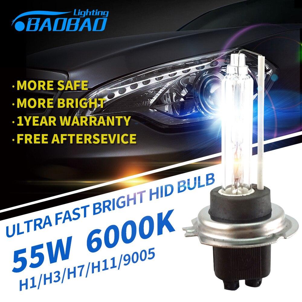 BAOBAO 2pcs Fast Bright 55W 4300k 6000K 5200LM HID Bulb car styling HID xenon conversion Bulb H1 H3 H7 H11 9005 9006 D2H