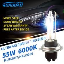 2pcs Top Quality, Fast Bright BAOBAO 55W 4300k 6000K 5200LM HID Bulb,HID xenon conversion Bulb H1 H3 H7 H8 H11 9005 9006