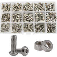 Hex Button Head Machine Screw Thread Metric Mushroom Hexagon Socket Cap Bolt Nut 304 Stainless Steel Assortment Kit Set M3 M4 M5