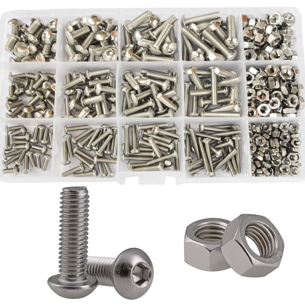 250 Pieces M3 M4 M5 Phillips Pan Head Screws Bolt Nut Lock Flat Washers Assortment Kit for Home Machine Office