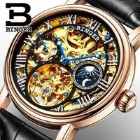 Genuine Luxury BINGER brand Men skeleton watch mechanical sapphire fashion automatic steel gold Tourbillon hollow waterproof