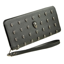 лучшая цена 2019 New Men Leather Bag Skull Wallet Personality Clutch Bags Rivets PU Leather Purse Quality Zipper Card Holder Punk Wallets