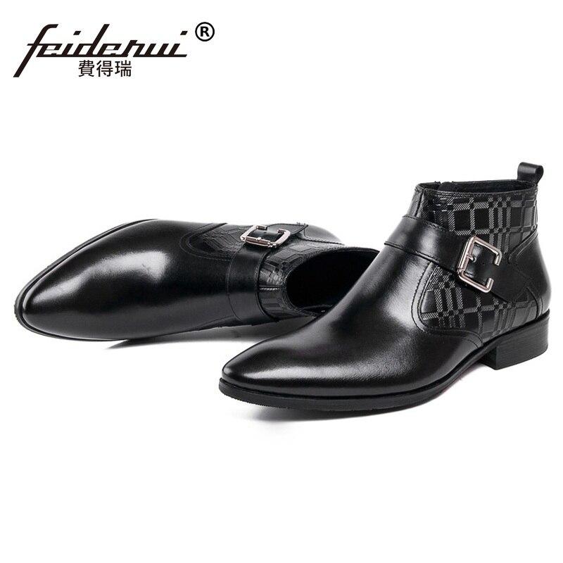 Hombre Occidental Vaquero Hombres Cuero Botines Zapatos Diseñador Sf53 marrón Negro Superior Italiano Puntiagudo Negocios Lujo Calidad Martin Auténtico d7wqEP4