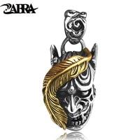 ZABRA Luxury Devil Satan Skull Pendant Biker Men Steampunk Necklace Dark World 925 Sterling Silver Gothic Jewelry