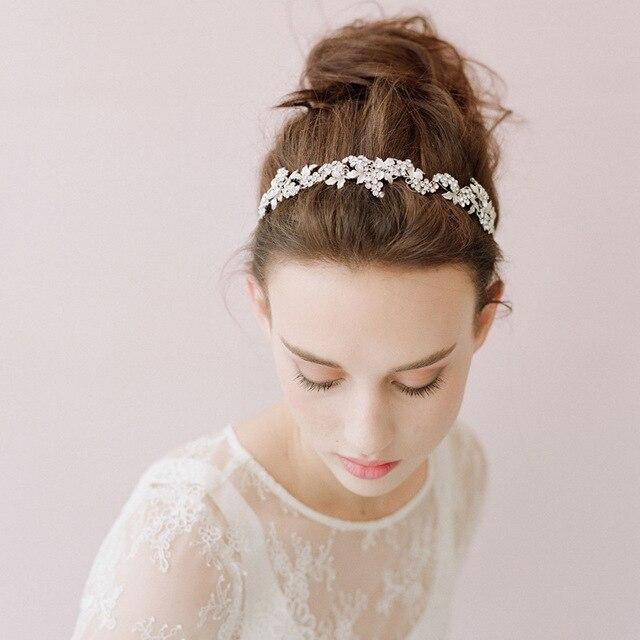Jonnafe New Fashion Bridal Headband Leaf Tiara Rhinestone Wedding Prom  Headpiece Women pagent Prom Hair Jewelry f70cae8ef21