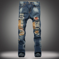 2018 Street Mens Ripped Jeans Pants Blue Torn Distressed Patch Jeans Fashion Designer Trousers With Holes Stone Washed Jeans Man