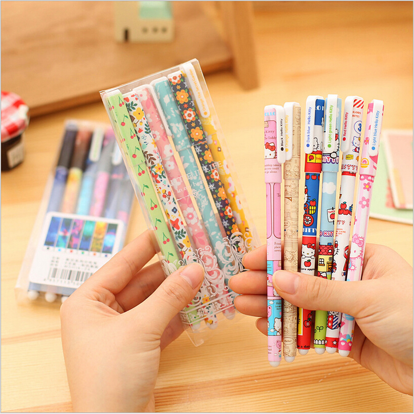 6PCS/pack Hot Sale Cute Korean Stationery High Quality 0.38mm Colored Gel Pens Kawaii Floral Sign Pen School&Office Supplies