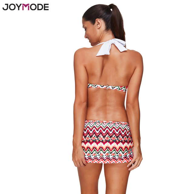 JOYMODE Sexy Bikini Women Two Pieces Bikini Set Halter Neck Push Up Print Swimsuit Swimwear Skirt Bottom 2017 Bathing Suit
