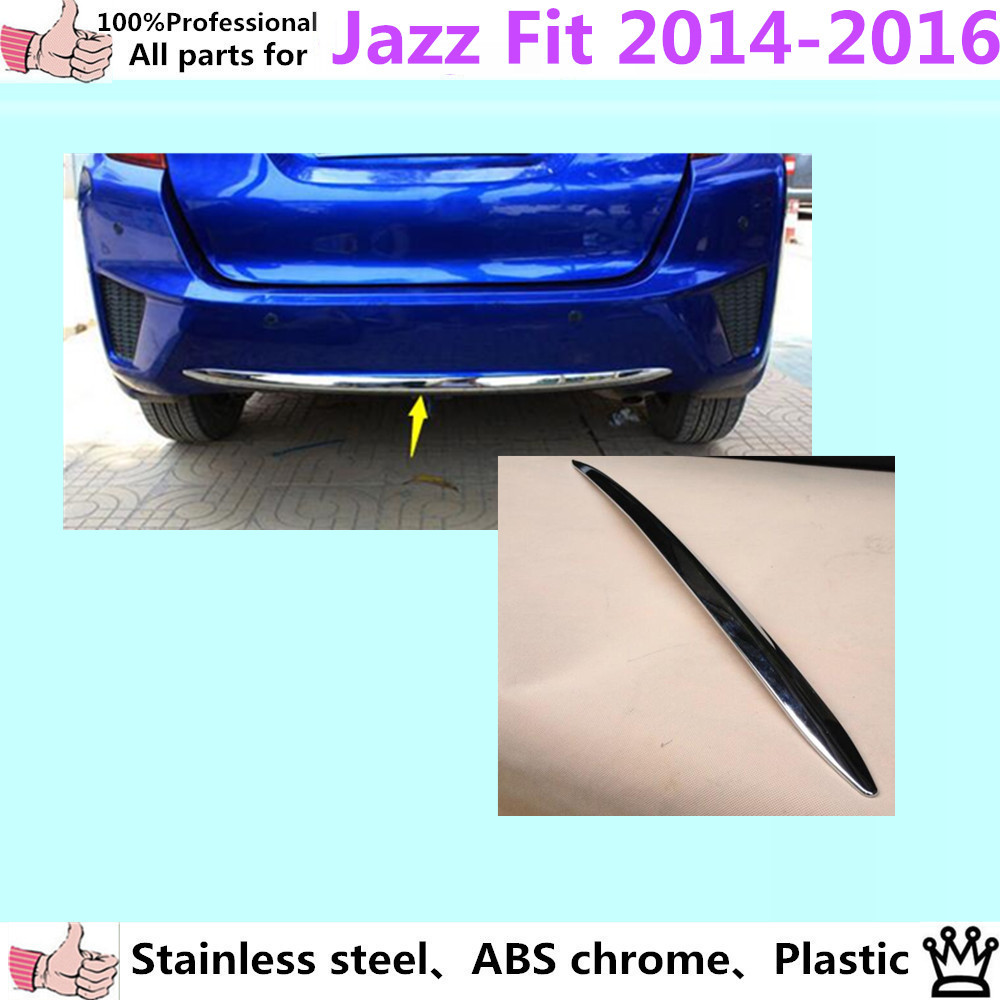 Top Quality Car body cover protection Bumper ABS Chrome trim rear back tail bottom Around 1pcs for Honda FIT JAZZ 2014 2015 2016  high quality car styling cover detector abs chromium tail back rear license frame plate trim strips 1pcs for su6aru outback 2015