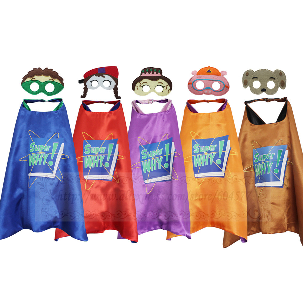 Home Honest Super Why Costumes Cape With Masks Cosplay Party Favors Kids Wyatt Princess Pea Wonder Red Dress Up