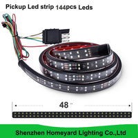 48 2 Row LED Truck Tailgate Light Bar Strip Red/White Reverse Stop Turn Signal Running for Pickup SUV RV Trailer