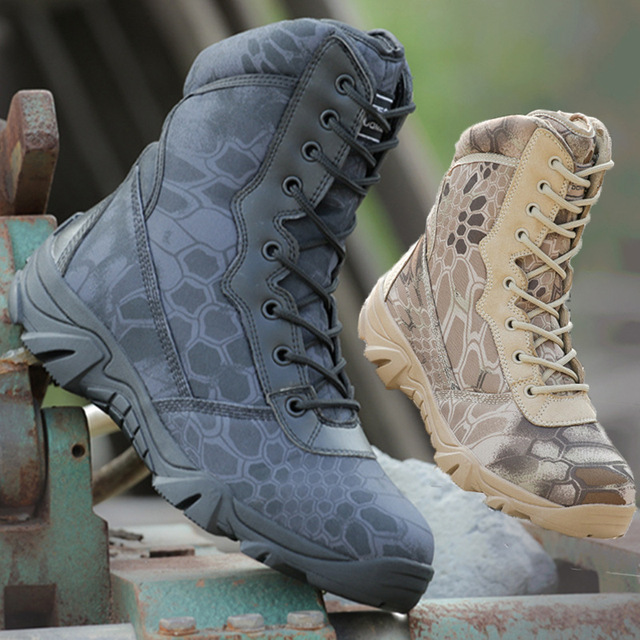 2018 Açık yürüyüş ayakkabıları erkek Çöl Yüksek top askeri taktik botları Erkekler Kamuflaj Savaş asker botu Militares Sapatos Mascu