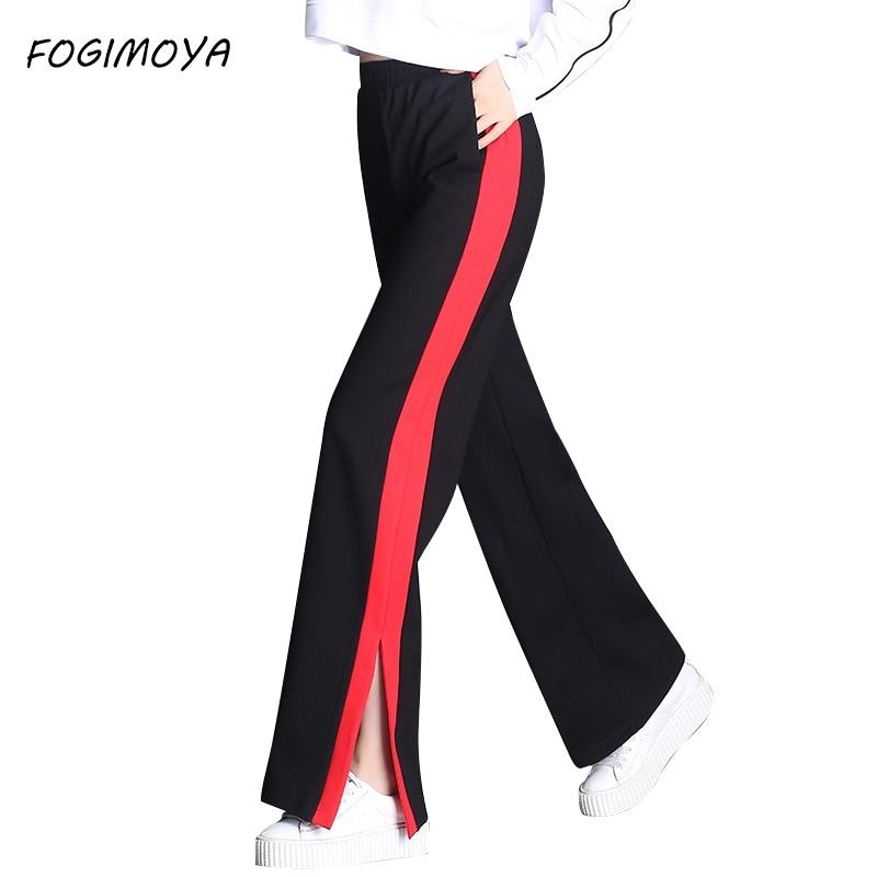 FOGIMOYA Pants Women Spring Striped High Waist Legging Women's 2018 Casaul Loose OL Side Fork Wild Full Length Long Pants New