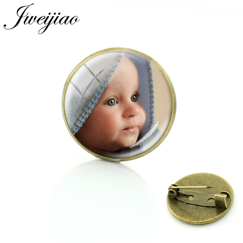 JWEIJIAO Personalized Custom Antique Bronze Brooches Baby Family Pet Photo Glass Cabochon Badge Pins Breastpin Gift  Na01