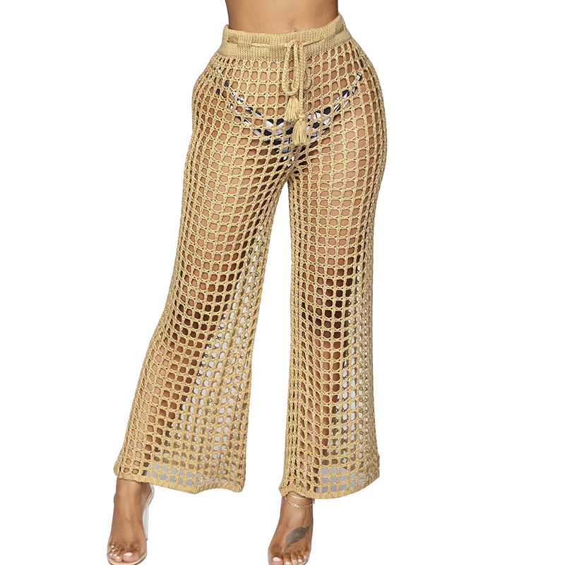 Women Mesh Hollow Out Knitted Drawstring Khaki   Wide     Leg     Pants   Sexy See-through Loose Holiday Beach   Pants   Summer Casual Trousers