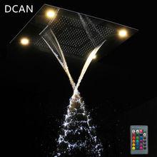 DCAN Multi Function Rainfall Shower Heads Led Light Remote Control Shower Head 600*800mm Ceiling Rain Shower Waterfall Massage