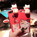 Lovely 3D Lucky Cat doll  Red Soft Silicon Back Cover Phone Case For iPhone 7 7plus 6 6S 6plus 6Splus mobile phone shell bagsnew