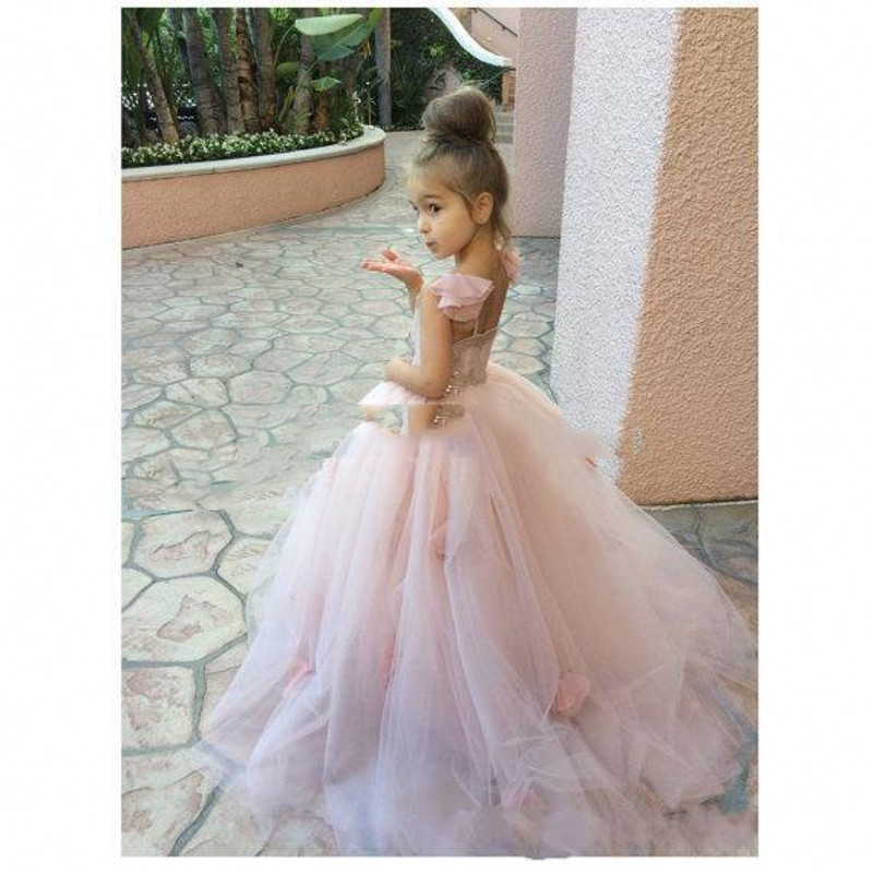 Aliexpress.com : Buy Princess Pink Oragne Puffy Flower Girl ...