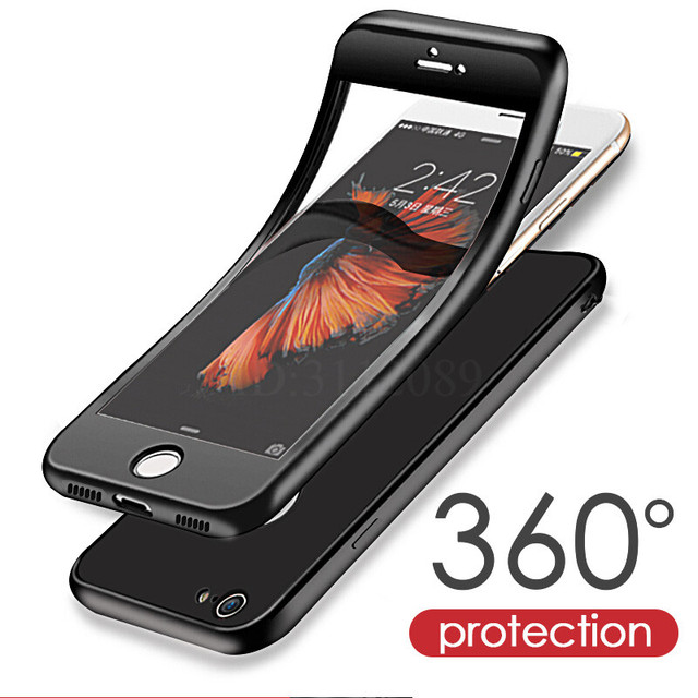 the latest db2a1 00e62 US $5.0  Luxus Weichen TPU Silikon 360 Full Cover Cases Für iPhone 7 6 s 6  fall 5 5 s SE Abdeckungs fälle für iPhone 6 7 Plus fall mit glas in ...
