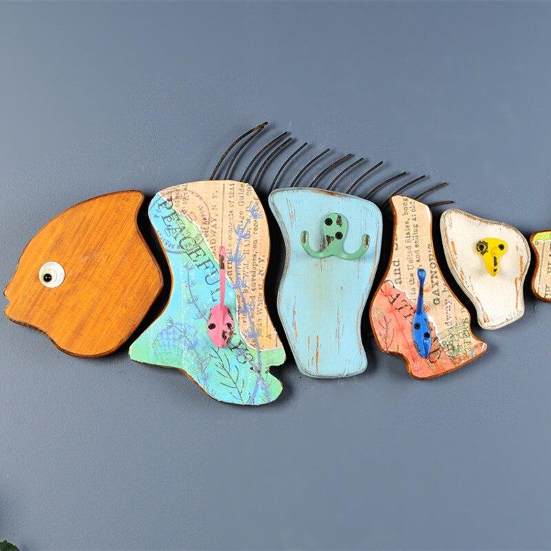 Морской Животные Карп Рыба настенные украшения деревянные настенные росписи мультфильм декоративные Творческий модель стене висят украше