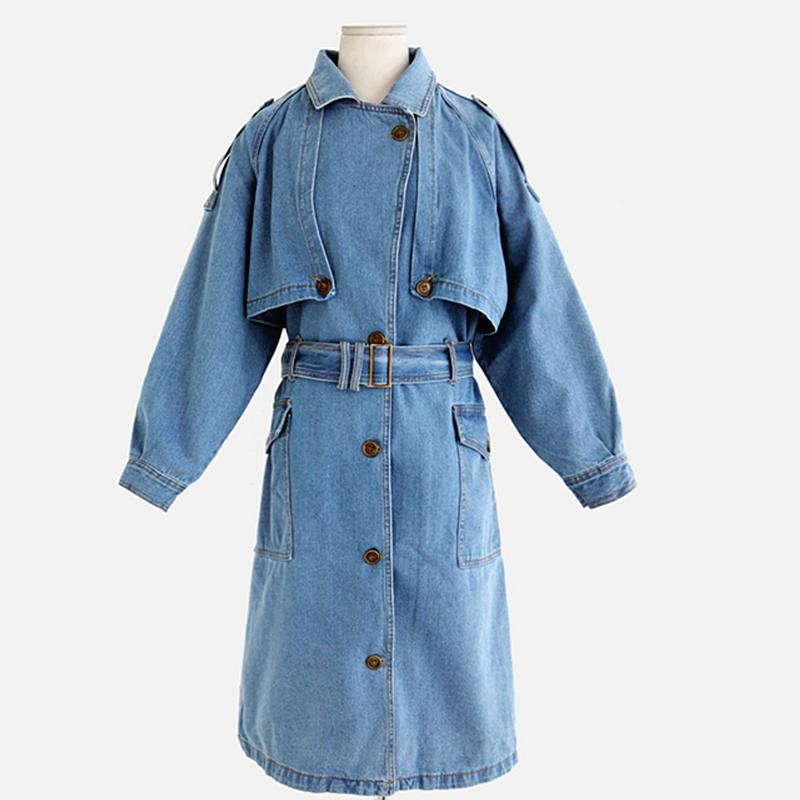 Women long   trench   plus size full sleeve Waist coats casual Cowboy   trench   coat