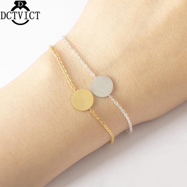 Gold Silver Round Chains Bracelet Women Stainless Steel Geometric Pulseras Mujer BFF Friendship Bracelet Minimalism Jewelry Bff