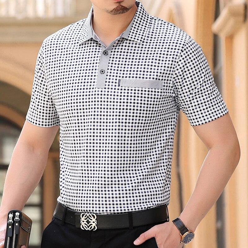 Thoshine Brand Men Summer Polo Shirts 95% Viscose Business Style Male Plaid Dot Polo shirt Smart Causal Camisa Turn-Down Collar