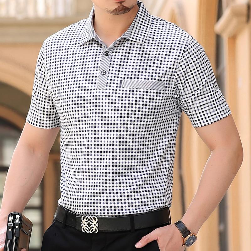 Thoshine Camisas de Marca Polo Dos Homens do Verão 95% Viscose Estilo De Negócio Masculino Xadrez Dot camisa Pólo Inteligente Causal Camisa Turn- down Collar