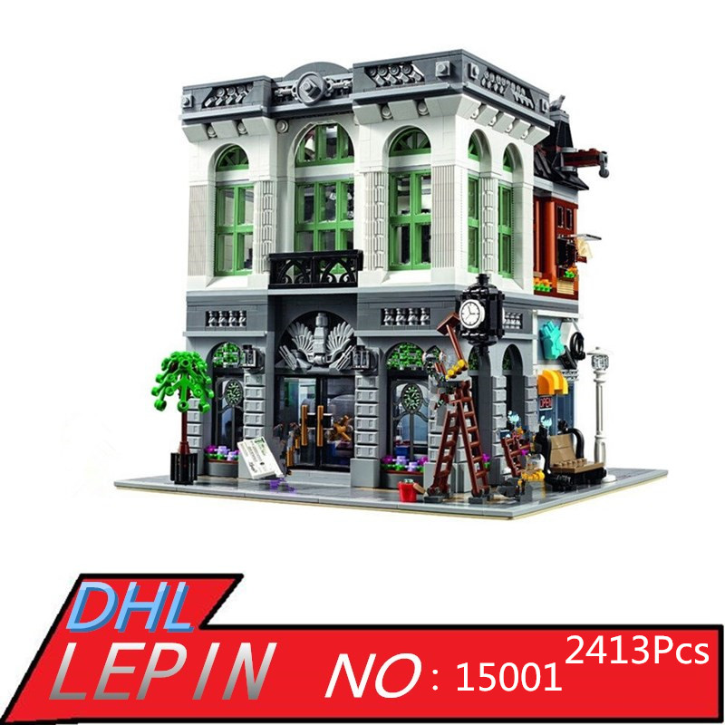 LEPIN 15001 2413Pcs Creator Brick Bank Model Educational Building Kits Blocks Bricks Toy for Children Gift Compatible With 10251 new lepin 22001 pirate ship imperial warships model building kits block briks toys gift 1717pcs