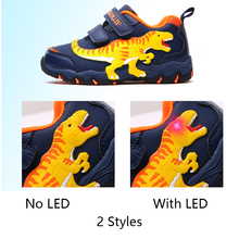 Dinoskulls Kids Boys Led Shoes 3d Dinosaur Children's Sneakers Light Up Baby Boy Trainers Glowing Sports