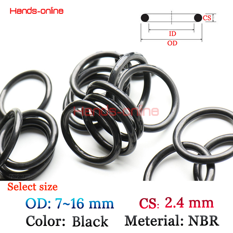 Optional OD <font><b>7</b></font> <font><b>8</b></font> 9 10 11 12 <font><b>13</b></font> 14 14.5 15 16 mm <font><b>x</b></font> CS 2.4mm Black Rubber O-Ring Sealed Sealing Gasket Oring Assortment Kit