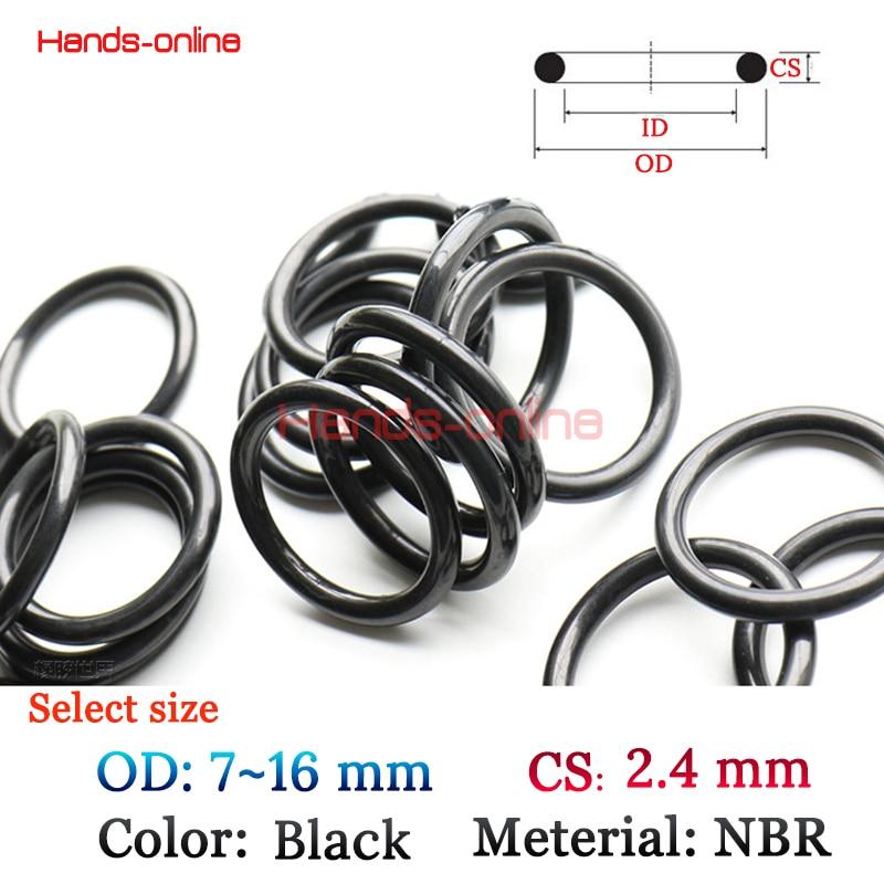 Optional OD <font><b>7</b></font> <font><b>8</b></font> 9 10 <font><b>11</b></font> 12 <font><b>13</b></font> 14 14.5 15 16 mm <font><b>x</b></font> CS 2.4mm Black Rubber O-Ring Sealed Sealing Gasket Oring Assortment Kit