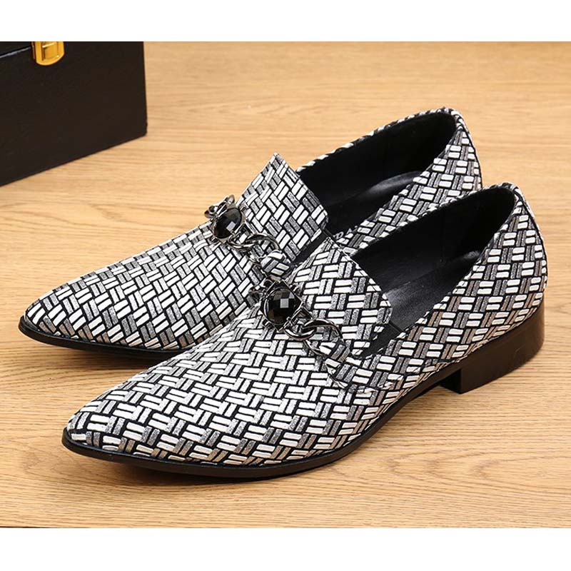 2017 New Fashion Genuine Leather Men Flats Mixed Color Plaid Wedding Dress Shoes Men Slip On Big Size Pointed Toe Male Loafers color block plaid dress