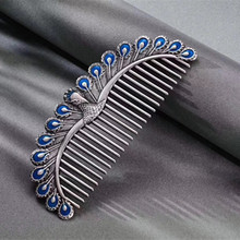 VOJEFEN 999 Sterling Silver Hair Comb for Women Creative Peacock Combs FORSEVEN White Flower Leaf Rhinestone