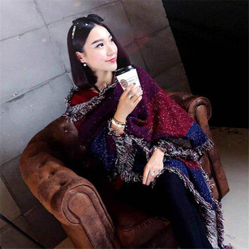 Durable bandana Fashion Women s Large font b Tartan b font Scarf Shawl Stole Plaid Woollen