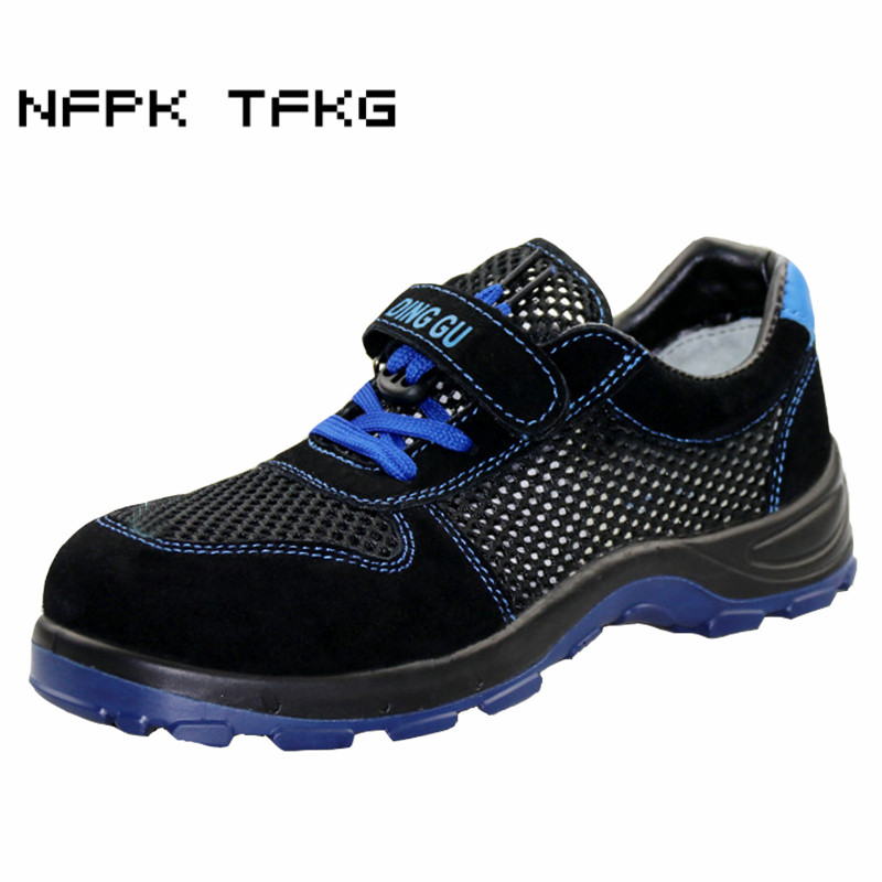 large size 46 47 men's fashion breathable hollow mesh steel toe caps working safety summer shoes anti-pierce security boots male halinfer large size 45 46 men fashion breathable mesh steel toe caps work safety shoes with anti pierce protective footwear