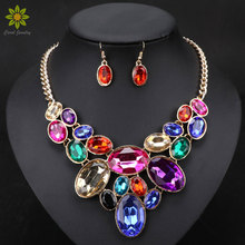 Fashion Women Wedding Necklaces Earrings Sets Gold Plated Collar Rhinestone Crystal Choker Necklaces & Pendants Jewelry Sets