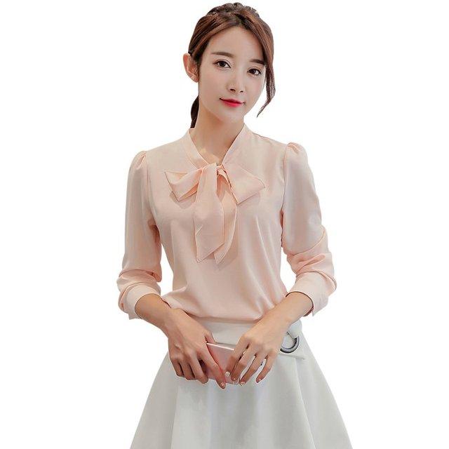 923551eb62b5b Ladies Sweet Bow knot Shirt Women Long Sleeve Turn-down Collar Blouse  Autumn Top Tees White Pink Tops Women Clothing