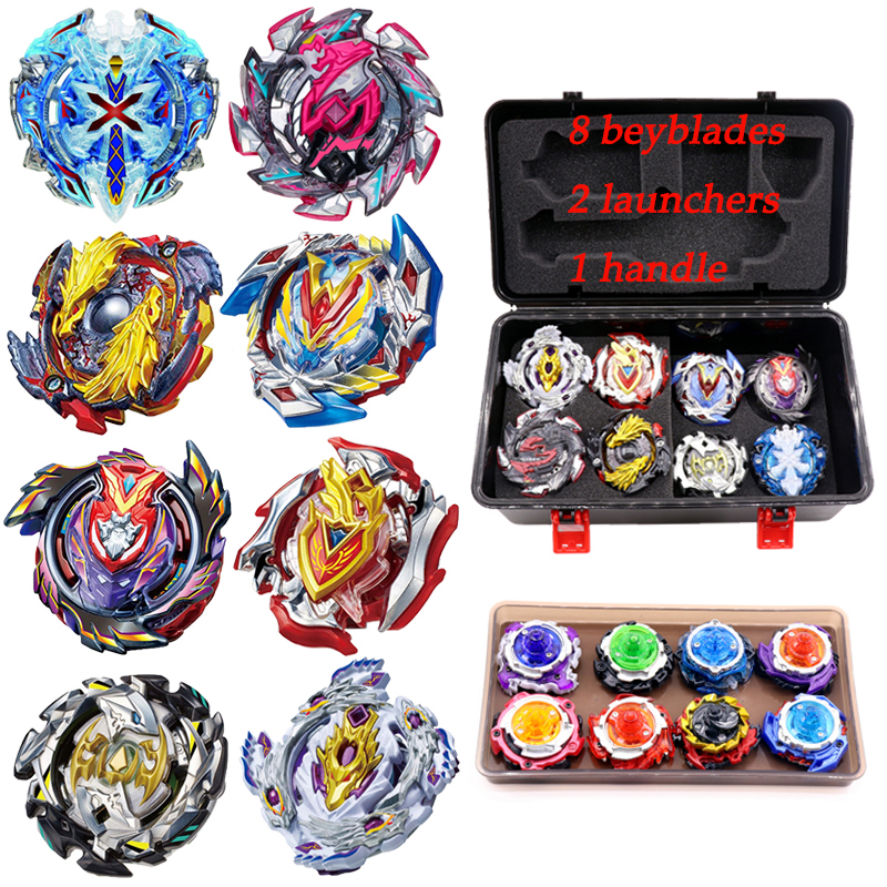 luminous beyblade burst beyblade toys glowing in the dark metal spinning top bayblade gyro launcher kids toys for children sales Hot Beyblade Set Bey Blade Burst 8/12pcs Beyblade+Launcher+Handle Metal Fusion 4D Spinning Top Bayblade Toys Sale For Children