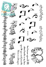 Large Music Note Tattoo Stickers