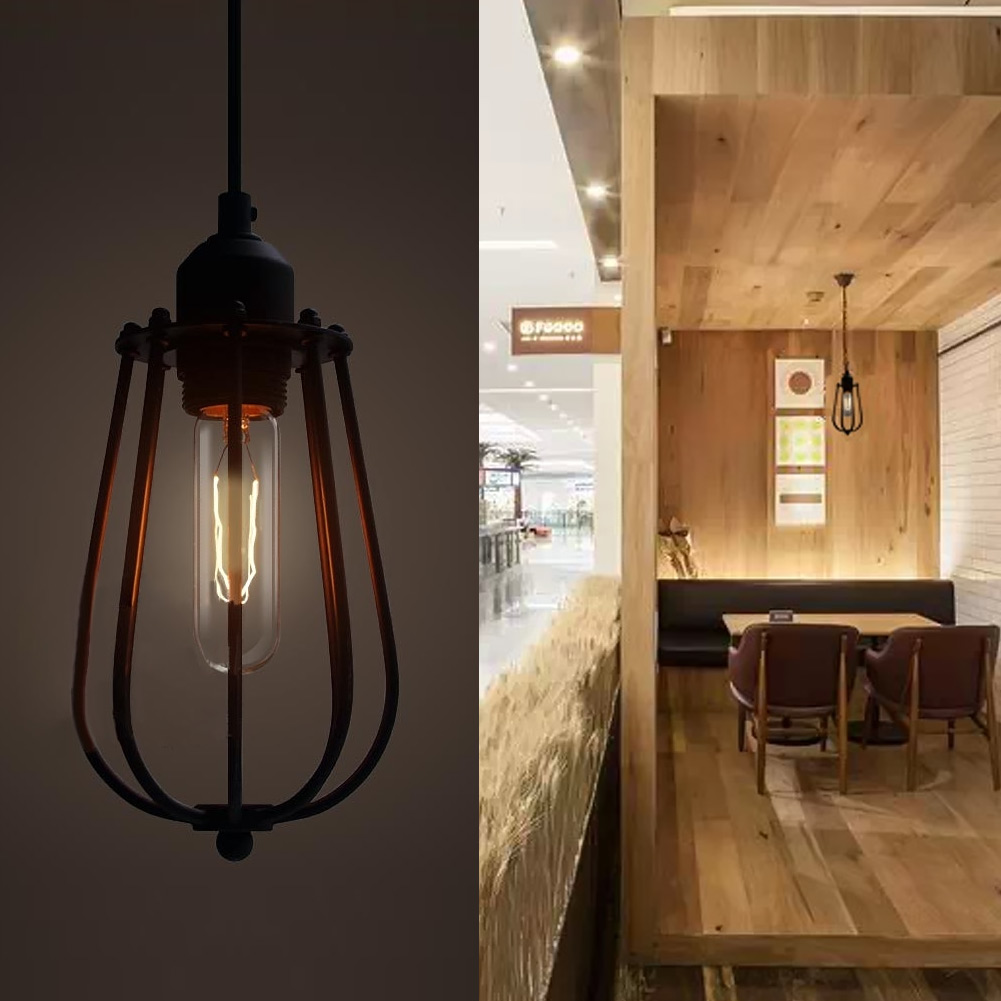 Nodic Style Retro Iron Cage Pendant Lamp Vintage E27 Pendant Light Home Light Bedroom Hanging Droplight Restaurant Bar Deco Lamp vintage iron pendant light loft retro droplight bar cafe bedroom restaurant metal cage ith led bulb hanging lamp ac110v 220v e27