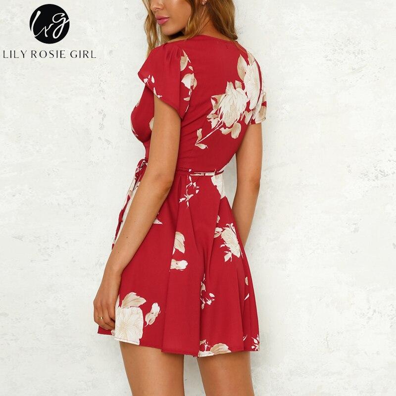 Lily Rosie Girl Red Sexy V Neck Ruffles Short Sleeve Women Mini Dresses 1