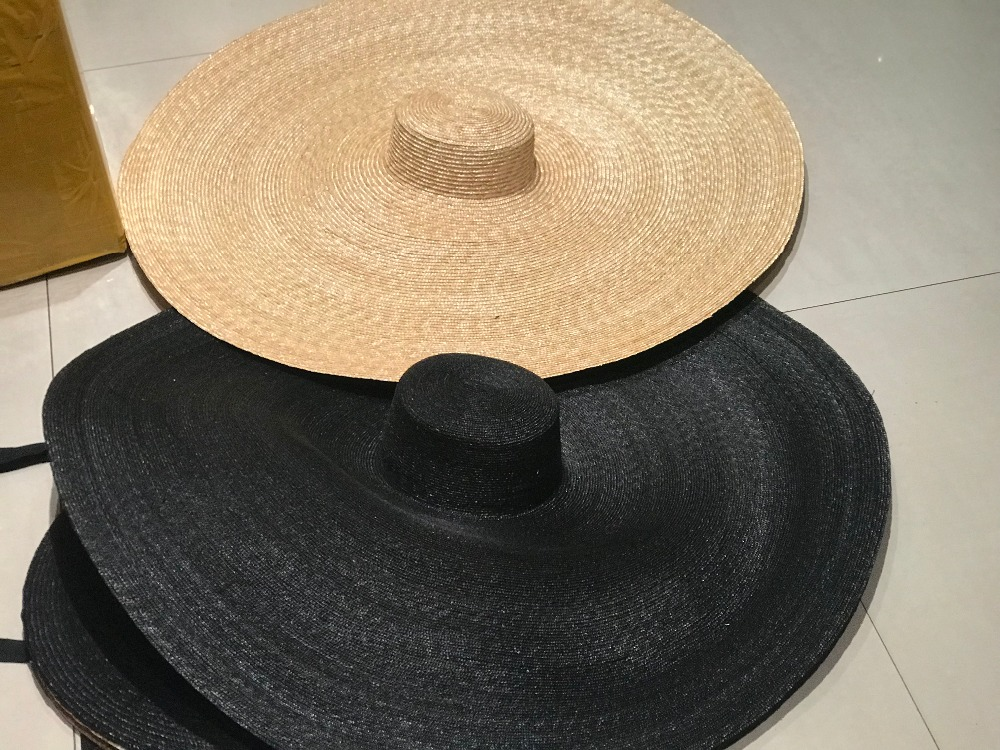 Axi01807 Summer  Photographed Model Fashion Show  Catwalk 35cm Wind Brim Leisure Beach  Lady Wedding Cap Women Holiday Sun Hat