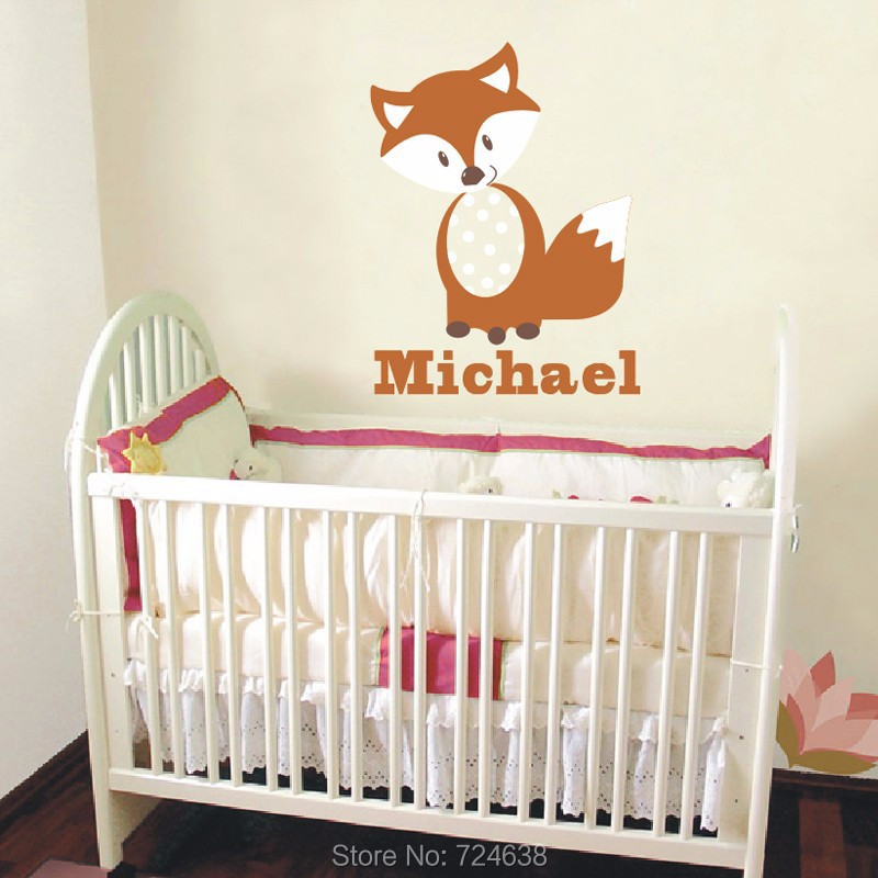 fox wall decals personalized name vinyl wall art baby nursery decor