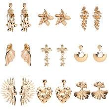 24 стиля ZA золотой цветок висячие серьги для женщин полые геометрические заявление сердце Дерево Форма уха украшения ET1044