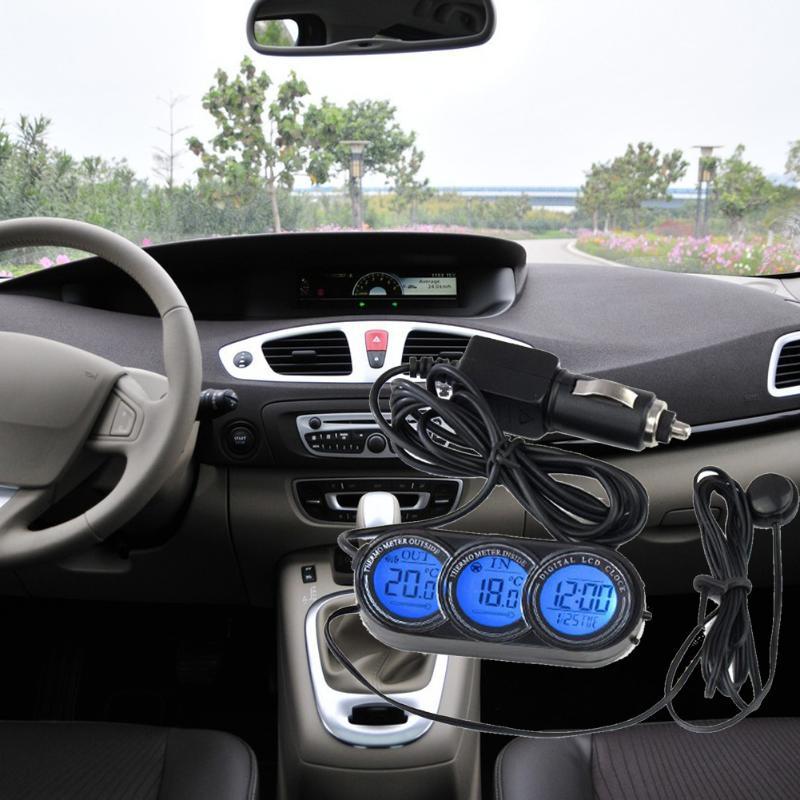 f0c28ae2ded Multi-função Auto LCD Relógio Termômetro Calendário Relógio para Auto Car 12 24  Horas