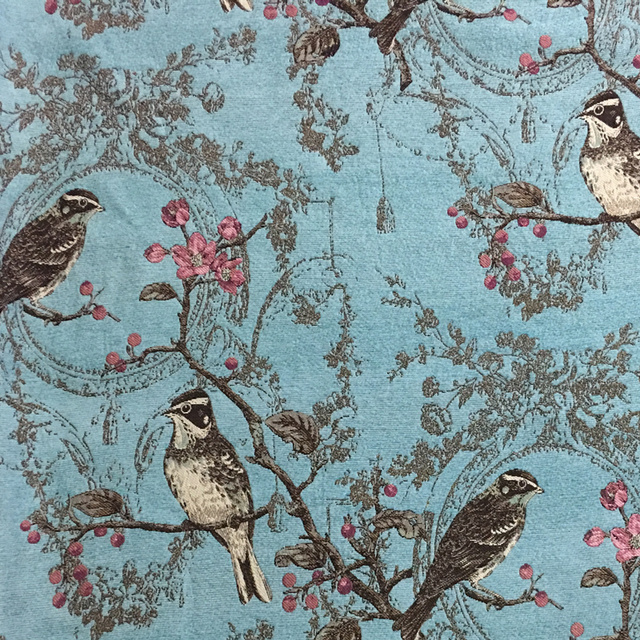 Deluxe Antique Vintage Birds Thick Polyester Rayon Soft Chenille Drapery Curtain Woven Sofa Upholstery Fabrics 280cm