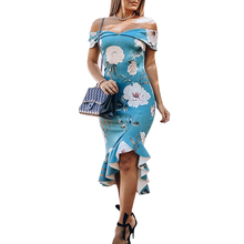 2019 Women Off Shoulder Slash Neck Ruffles Fishtail Dress Bodycon Slim Dresses Female High Low Hem Elegant Solid Floral Dress