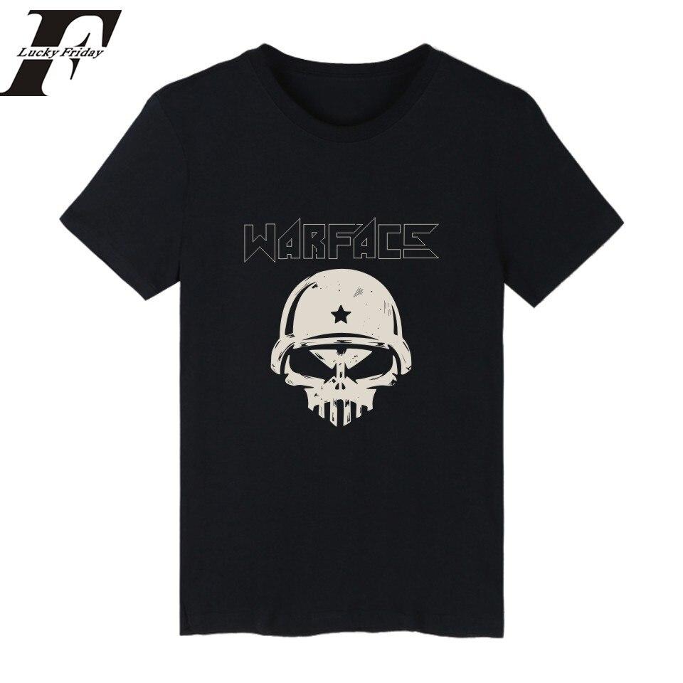 LUCKYFRIDAY Warface t-shirt for men 2017 new game of boy short sleeve black  Men's T shirt Warface logo Male TShirts xxs-4xl